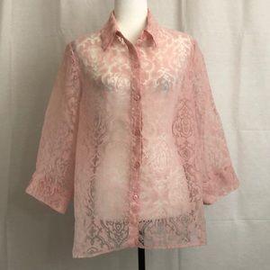 🟢3/$25🟢 Size 16 blouse see-through/sheer pink